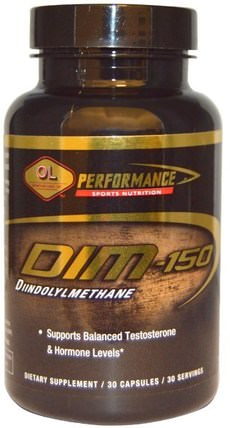DIM, 150 mg, 30 Capsules by Olympian Labs Performance Sports Nutrition, 健康,男性,睾丸激素,補充劑,二吲哚基甲烷(昏暗) HK 香港