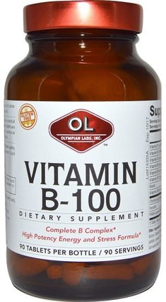 90 Tablets by Olympian Labs Vitamin B-100, 維生素,維生素B複合物100 HK 香港