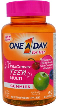 One A Day for Her, VitaCraves, Teen Multi, 60 Gummies by One-A-Day, 維生素,多種維生素,兒童多種維生素 HK 香港