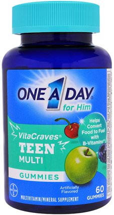 One A Day for Him, VitaCraves, Teen Multi, 60 Gummies by One-A-Day, 維生素,多種維生素,兒童多種維生素,健康,男性 HK 香港