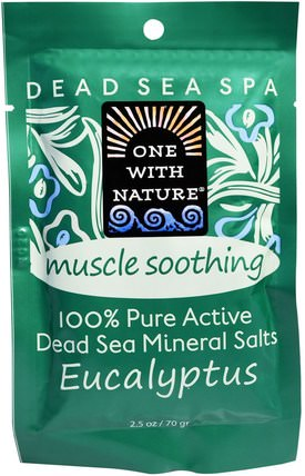 Dead Sea Mineral Salts, Muscle Soothing, Eucalyptus, 2.5 oz (70 g) by One with Nature, 洗澡,美容,浴鹽 HK 香港