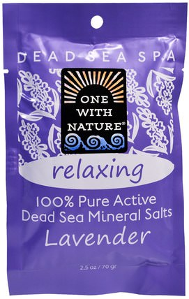 Dead Sea Mineral Salts, Relaxing, Lavender, 2.5 oz (70 g) by One with Nature, 洗澡,美容,浴鹽 HK 香港