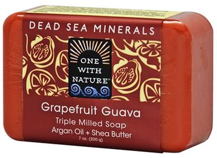 Triple Milled Soap Bar, Grapefruit Guava, 7 oz (200 g) by One with Nature, 洗澡,美容,肥皂,乳木果油 HK 香港