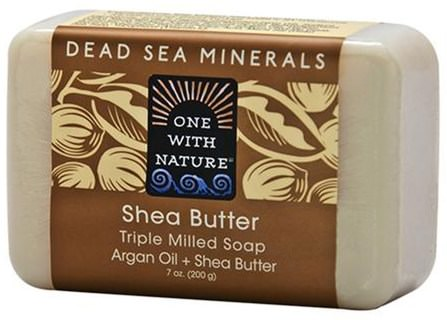 Triple Milled Soap Bar, Shea Butter, 7 oz (200 g) by One with Nature, 洗澡,美容,肥皂,乳木果油 HK 香港