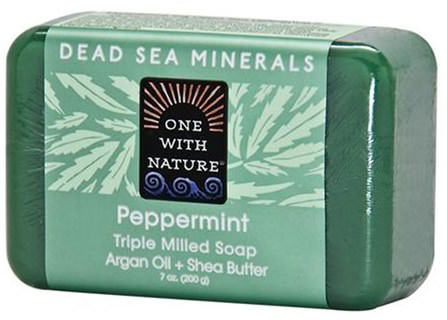 Triple Milled Soap, Peppermint, 7 oz (200 g) by One with Nature, 洗澡,美容,肥皂,摩洛哥堅果 HK 香港