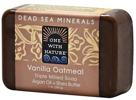 Vanilla Oatmeal Soap Bar, 7 oz (200 g) by One with Nature, 洗澡,美容,肥皂,摩洛哥堅果 HK 香港