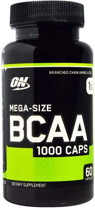 BCAA 1000 Caps, Mega-Size, 1 g, 60 Capsules by Optimum Nutrition, 運動,補品,bcaa(支鏈氨基酸) HK 香港