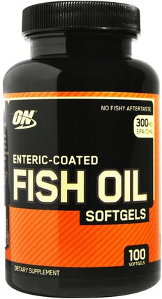 Enteric-Coated Fish Oil, 100 Softgels by Optimum Nutrition, 補充劑,efa omega 3 6 9(epa dha),運動,魚油軟膠囊 HK 香港