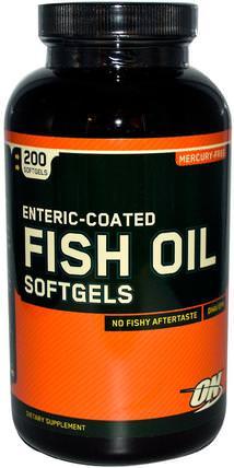 Enteric Coated Fish Oil, 200 Softgels by Optimum Nutrition, 補充劑,efa omega 3 6 9(epa dha),魚油,魚油腸溶衣,運動 HK 香港