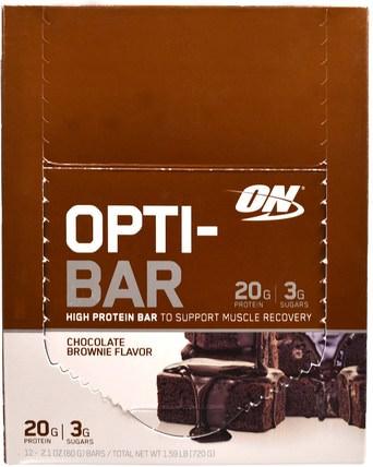 Opti-Bar High Protein Bar, Chocolate Brownie, 12 Bars, 2.1 oz (60 g) Each by Optimum Nutrition, 體育 HK 香港