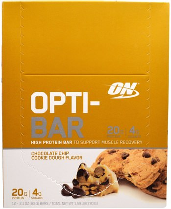 Optimum Nutrition, Opti-Bar High Protein Bar, Chocolate Chip Cookie Dough, 12 Bars - 2.1 oz (60 g) Each 運動,蛋白質棒,最佳營養