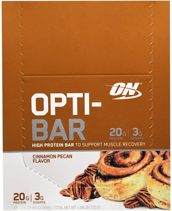 Optimum Nutrition, Opti-Bar High Protein Bar, Cinnamon Pecan, 12 Bars, 2.1 oz (60 g) Each 體育