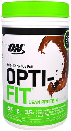 Opti-Fit Lean Protein Shake, Chocolate, 1.83 lb (832 g) by Optimum Nutrition, 補充劑,蛋白質奶昔,運動 HK 香港