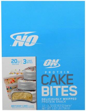 Protein Cake Bites, Birthday Cake, 12 Bars, 2.22 oz (63 g) Each by Optimum Nutrition, 補品,營養棒,運動 HK 香港