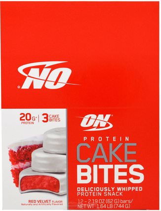 Protein Cake Bites, Red Velvet, 12 Bars, 2.19 oz (62 g) Each by Optimum Nutrition, 補品,營養棒,運動 HK 香港