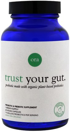 Trust Your Gut, 60 Vegan Capsules by Ora, 補充劑,益生菌 HK 香港