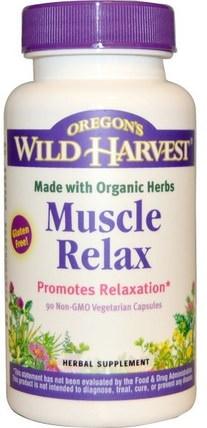Oregons Wild Harvest, Muscle Relax, 90 Non-GMO Veggie Caps 補充,睡覺