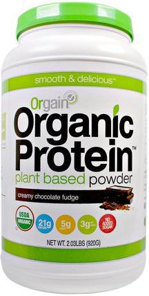 Organic Protein Plant Based Powder, Creamy Chocolate Fudge, 2.03 lbs (920 g) by Orgain, 補充劑,蛋白質或蛋白粉 HK 香港