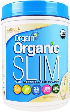 Orgain, Organic Slim Plant Based Protein Powder, Vanilla, 1.02 lbs (462 g) orgain蛋白粉,orgain有機苗條