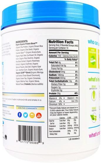 orgain蛋白粉,orgain有機苗條 - Orgain, Organic Slim Plant Based Protein Powder, Vanilla, 1.02 lbs (462 g)