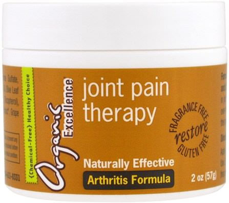 Joint Pain Theraphy, Arthritis Formula, Fragrance Free, 2 oz (57 g) by Organic Excellence, 健康,骨骼,骨質疏鬆症,關節健康,關節炎 HK 香港