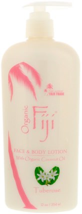 Face & Body Lotion with Organic Coconut Oil, Tuberose, 12 oz (354 ml) by Organic Fiji, 洗澡,美容,潤膚露 HK 香港