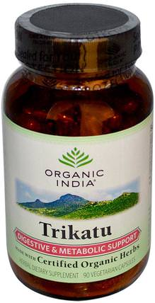 Trikatu, Digestive & Metabolic Support, 90 Veggie Caps by Organic India, 健康,消化,胃,阿育吠陀阿育吠陀草藥,trikatu HK 香港