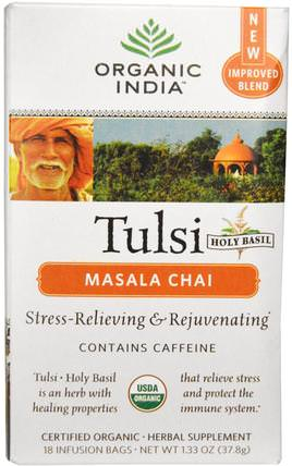 Tulsi Holy Basil Tea, Masala Chai, 18 Infusion Bags, 1.33 oz (37.8 g) by Organic India, 食物,涼茶,tulsi茶,補充劑,adaptogen HK 香港