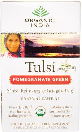 Tulsi Holy Basil Tea, Pomegranate Green, 18 Infusion Bags, 1.27 oz (36 g) by Organic India, 食物,涼茶,tulsi茶,補充劑,adaptogen HK 香港