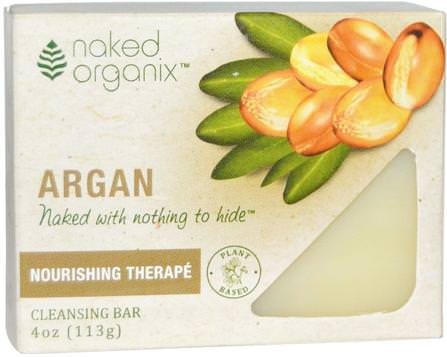 Naked Organix, Argan, Cleansing Bar, Fragrance Free, 4 oz (113 g) by Organix South, 洗澡,美容,摩洛哥堅果,身體護理 HK 香港