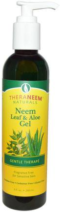 TheraNeem Naturals, Neem Leaf & Aloe Gel, Gentle Therape, Fragrance Free, 8 fl oz (240 ml) by Organix South, 沐浴,美容,身體護理,面部護理,皮膚型酒渣鼻,敏感肌膚 HK 香港