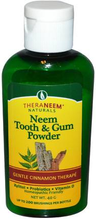 Theraneem Naturals, Neem Tooth & Gum Powder, Gentle Cinnamon Therape, 40 g by Organix South, 洗澡,美容,身體護理,油 HK 香港