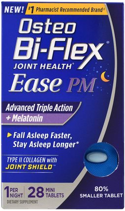 Joint Health, Ease PM, Advanced Triple Action + Melatonin, 28 Mini Tablets by Osteo Bi-Flex, 補充劑,褪黑激素,骨骼,骨質疏鬆症,關節健康 HK 香港