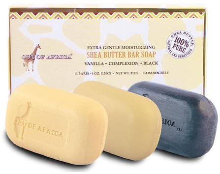 Extra Gentle Moisturizing Shea Butter Bar Soap, 3 Bars, 4 oz (120 g) Each by Out of Africa, 洗澡,美容,禮品套裝,沐浴禮品套裝,肥皂 HK 香港