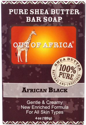 Pure Shea Butter Bar Soap, African Black, 4 oz (120 g) by Out of Africa, 洗澡,美容,肥皂,黑色肥皂 HK 香港