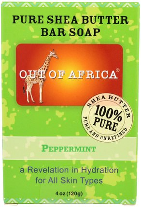 Pure Shea Butter Bar Soap, Peppermint, 4 oz (120 g) by Out of Africa, 洗澡,美容,肥皂,乳木果油 HK 香港