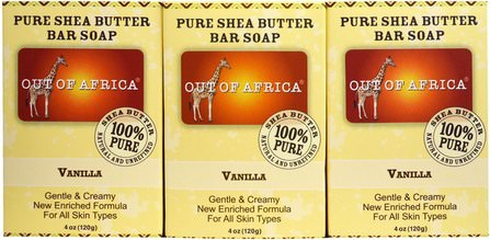 Pure Shea Butter Bar Soap, Vanilla, 3 Pack, 4 oz (120 g) Each by Out of Africa, 洗澡,美容,肥皂 HK 香港