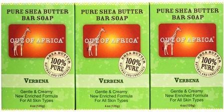 Pure Shea Butter Bar Soap, Verbena, 3 Pack, 4 oz (120 g) Each by Out of Africa, 洗澡,美容,肥皂 HK 香港