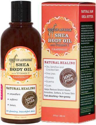Shea Body Oil with Vitamin E, Grapefruit, 9 fl oz (266 ml) by Out of Africa, 沐浴,美容,乳木果油,皮膚,按摩油 HK 香港