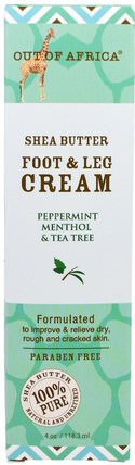 Shea Butter Foot & Leg Cream, Peppermint Menthol & Tea Tree, 4 oz (118.3 ml) by Out of Africa, 洗澡,美容,霜腳,皮膚,身體黃油 HK 香港