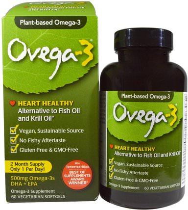 Ovega-3, DHA + EPA, 500 mg, 60 Veggie Softgels by Ovega-3, 補充劑,efa歐米茄3 6 9(epa dha),歐米茄369粒/標籤 HK 香港