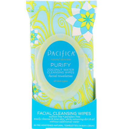 Purify Coconut Water Cleansing Facial Wipes, 30 Pre-Moistened Towelettes by Pacifica, 美容,面部護理,皮膚,面部濕巾 HK 香港