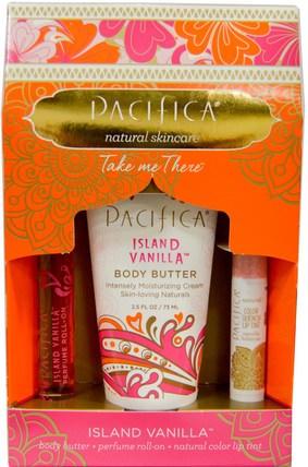 Pacifica, Take Me There, Island Vanilla, 3 Piece Set 健康,皮膚,身體黃油,沐浴,美容,口紅,光澤,襯墊