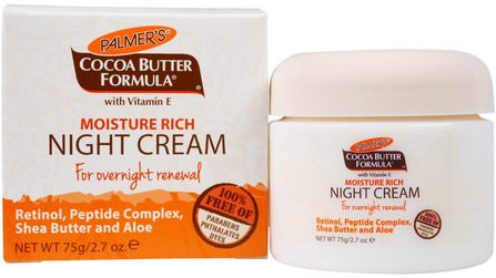 Cocoa Butter Formula, Moisture Rich Night Cream, 2.7 oz (75 g) by Palmers, 健康,皮膚,晚霜 HK 香港