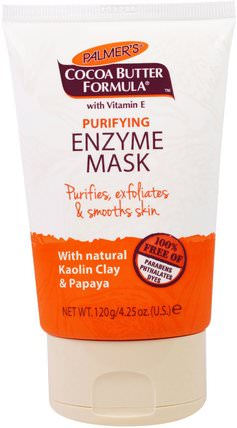 Cocoa Butter Formula, Purifying Enzyme Mask, 4.25 oz (120 g) by Palmers, 美容,面膜,糖,水果面膜,泥面膜 HK 香港