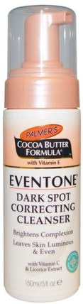 Cocoa Butter Formula with Vitamin E, Eventone Dark Spot Correcting Cleanser, 5 fl oz (150 ml) by Palmers, 美容,面部護理,皮膚類型色素沉著,曬傷皮膚,美白面部護理 HK 香港
