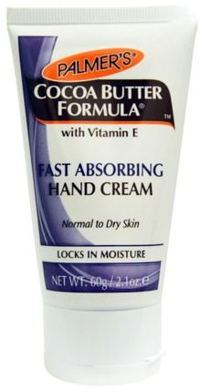 Cocoa Butter Formula, with Vitamin E, Fast Absorbing Hand Cream, 2.1 oz (60 g) by Palmers, 洗澡,美容,護手霜 HK 香港