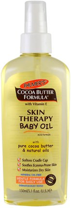 Cocoa Butter Formula with Vitamin E, Skin Therapy Baby Oil Mild Formula, 5.1 fl oz (150 ml) by Palmers, 兒童健康,尿布,嬰兒爽身粉油 HK 香港