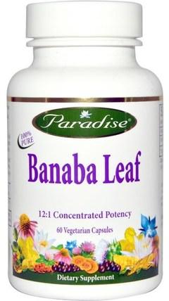 Banaba Leaf, 60 Veggie Caps by Paradise Herbs, 草藥,banaba葉,減肥,飲食 HK 香港