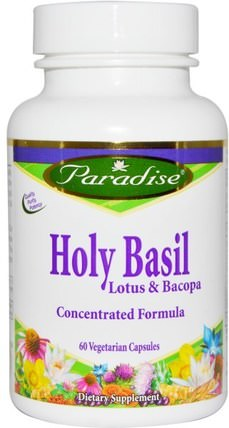 Holy Basil, Lotus & Bacopa, 60 Veggie Caps by Paradise Herbs, 草藥,bacopa(brahmi),聖羅勒 HK 香港